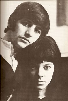 """Ringo and Maureen ヅ photo by Astrid Kirchherr. See the amazing shadow on Maureen -- similar to her shots of beatles in germany -- which became the concept for their very first LP cover worldwide. """"With the Beatles / Meet the Beatles"""". Ringo & Astrid were close friends for many years. As was Maureen."""