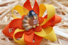 Baby First Thanksgiving Hair Bow Turkey Baby by SweetCrusaderStyle, $4.25