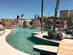Our Mykonos Guide - Santana Beach Club Mykonos - Club Mykonos, Heaven On Earth, Greece Travel, Beach Club, Greek Islands, Travel Guides, Places To Visit, Bar, World