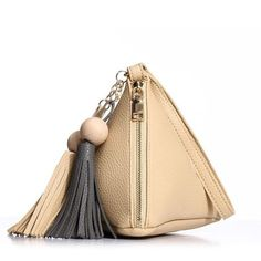 ROSCH Brand Triangle Shape Women Day Clutch Women Evening Bag PU Leather Wristlet Purses Tassel Small Handbags Herald Fashion