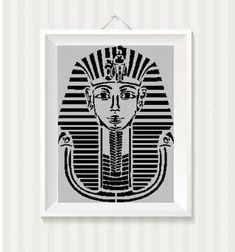 Tutanhamon+Pharaoh+silhouette+cross+stitch+pattern+in+pdf