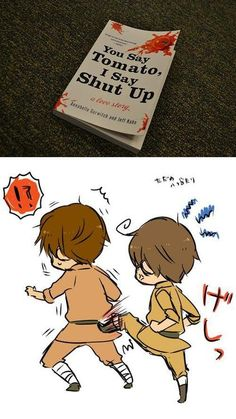 Hetalia Spain and tsudere Romano- the book that sums up their entire relationship.