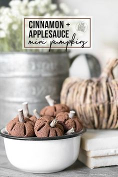 Sweet little pumpkins made using a simple cinnamon and applesauce recipe. These are a great additional to your fall decor or make lovely scented gifts. Full tutorial at livelaughrowe.com #PumpkinCraft #FallDecor