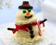 Vanilla Ice Cream Snow Man           Ice Cream      Coconut Shavings      Chocolate Chips      Candies      Chocolate-covered Pretzels      Small Candy Cane      Licorice
