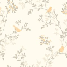 Nadia Burnt Orange Trees with Birds Mica Wallpaper | Departments | DIY at B&Q