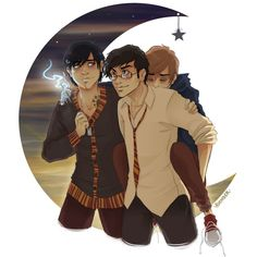For some reason, I find Remus extremely cute in this picture. Just casually sleeping on James's back.