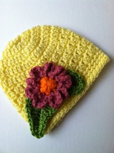 Crochet Baby Hats Crochet Baby Hat with Flower Crochet Baby by LakeviewCottage...