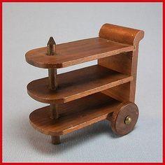 Original antique miniature dollhouse tea cart (art deco) by Strombecker ~ 5 views (including undersides) & description are useful as guide to making similar tea cart  | Rubylane