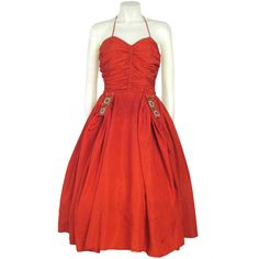 Vintage 1940s Red Ruche Bodice Full Skirt  Party Dress w Beading | From a collection of rare vintage evening dresses at http://www.1stdibs.com/fashion/clothing/evening-dresses/