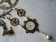 Steampunk Design, Steampunk Fashion, White People, Steampunk Necklace, White Beads, Filigree, Pocket Watch, Bracelet Watch, Jewlery
