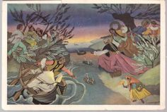 Midsummer in Polish art: Zofia Stryjeńska Old Paintings, Arts And Crafts, Art Crafts, Folklore, Illustration Art, Illustrations, Fashion Art, Sketches, Poland