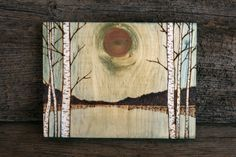 Across the Lake Art Block Wood Burning by TwigsandBlossoms, $47.00