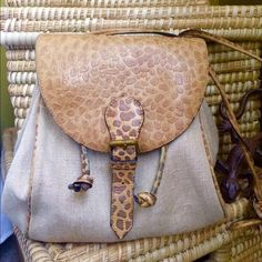 """MARCO RICCI bag Made in Italy tan burlap with fabulous trim. Zipper inside pocket-Cinches closed and 41"""" strap. Snap closure. 8x9. Good condition- so cute! Marco Ricci Bags Shoulder Bags"""