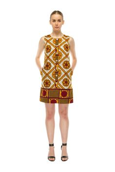 Tilda Shift Dress – Gold Square Print ~African fashion, Ankara, kitenge, African women dresses, African prints, Braids, Nigerian wedding, Ghanaian fashion, African wedding ~DKK