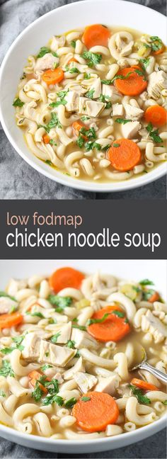 Warm up with a bowl of comforting, Low Fodmap Chicken Noodle Soup! Enjoy this delicious soup recipe for supper and have leftovers for lunch!