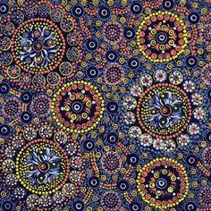 Wild Desert Flowers Blue by Vanessa Inkamala Aboriginal Designed Fabric #artisticartifacts