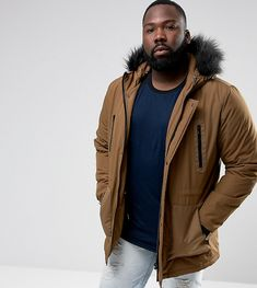 ASOS PLUS Parka Jacket with Faux Fur Trim in Tobacco - Brown