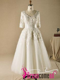 ae037622641 Special Dress!Custom Made Ball Gown V-neck Plus Size Tea Length Wedding  Dresses