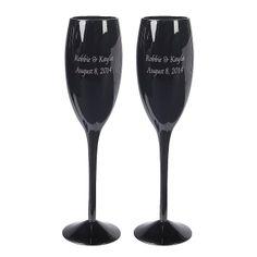 Personalized Black Wedding Flutes - OrientalTrading.com