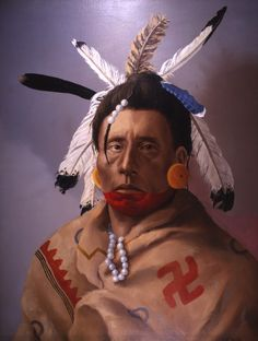 """Apalachee Warrior of Florida. """"In order to give battle they dress themselves elaborately, after their usage , painted all over with red ochre and their heads full of multicolored feathers.""""  Spanish Missionary, 1700 This intense warrior wears a painted deerskin robe to protect himself from north Florida's frigid winter weather. The symbols decorating the robe were taken from Apalachee pottery. Florida Lost Tribes by Theodore Morris"""