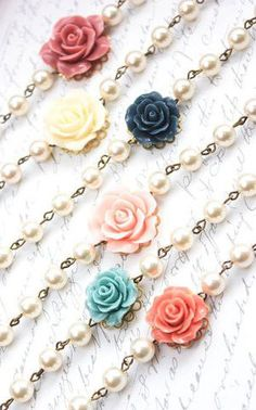 Rose Bracelet with Ivory Cream Swarovski Pearls