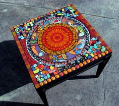 Mosaic Tile Table Metropolitan Funky Art Deco Fiesta Ware - I could do something like this for the patio, with a simple build. Mosaic Tile Table, Tile Tables, Mosaic Art, Mosaic Glass, Glass Art, Mosaics, Stained Glass, Mosaic Crafts, Mosaic Projects