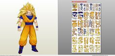 Papercraft .pdo file template for Dragonball Z - Son Goku SSJ3. - Visit now for 3D Dragon Ball Z shirts now on sale!