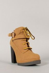 Qupid Ponder-06 Lace Up Round Toe Bootie