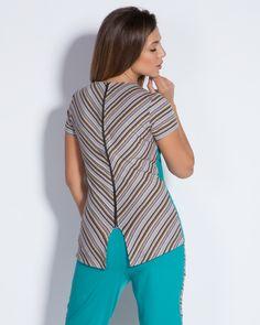 Дамска блуза с цип на гърба - петрол с гръб райе - Flavia  #Ефреа #online #онлайн #пазаруване #дрехи #блуза #цип #райета #тюркоаз