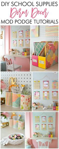 Adorable DIY Dorm School Supplies. Great tutorials on how to create an affordable and cute work station