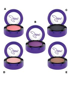 Eyeshadows  A. Fotos y Recuerdos — a bright, warm pink shadow with a smooth, satin finish.  B. Selena — a vibrant pearly violet, reminiscent of the Queen of Tejano's favorite shade.  C. Is It The Beat — a deep, intense black with a matte finish.  D. Missing My Baby — a light nude pink with a matte finish.  E. No Me Queda Mas — a warm, matte brown.