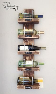 Build your own wine rack with a few boards and basic tools. | 29 Things You Can Do Right Now To Get Your Kitchen Organized