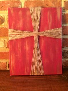 DIY Decor, painted canvas with twine cross