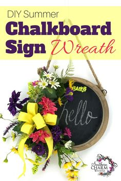 DIY Chalkboard Sign Wreath for Summer - Use a chalkboard sign and turn it into a wreath by Southern Charm Wreaths Summer Chalkboard, Chalkboard Signs, Chalkboard Ideas, Chalkboards, Cute Dorm Rooms, Living Room Green, Wreath Tutorial, Summer Wreath, Spring Wreaths