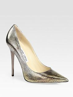 Jimmy Choo Anouk Metallic Lizard-Print Leather Pumps