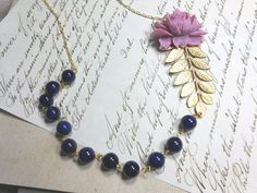 River stone Beaded Necklace Lilac Rose Necklace by TrudyAnnDesigns, $26.00