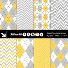 INSTANT DOWNLOAD Pastel Gray and Yellow Digital by subwayParty, $3.20