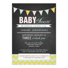 Chalkboard Baby Shower Gender Neutral Trendy Invitation