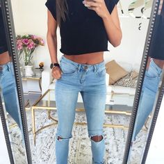crop top + ripped denim #larssonandjennings