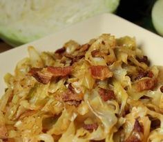 Fried Cabbage with Bacon, Onion & Garlic. This is a side dish where the title says it all. Cabbage is fried with bacon, onion, and garlic for a side dish you'll want to eat again and again. Fried Cabbage Recipes, Bacon Fried Cabbage, Southern Fried Cabbage, Sauteed Cabbage, Cabbage Stir Fry, Veggie Dishes, Food Dishes, Side Dishes, Veggies