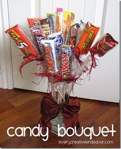 Cute idea for a husband, son, or boyfriend gift.  Jer would like this with 5th ave, skore bars and snickers