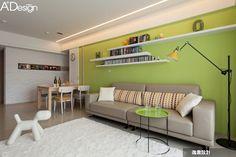 綠色牆面加層架