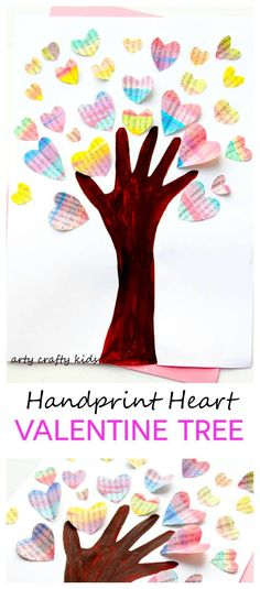 Handprint Valentine Heart Tree Arty Crafty Kids - Art - Valentines - Handprint Heart Valentine Tree - An easy and fun Valentine's craft for kids, that's great for practicing cutting skills! Kinder Valentines, Valentine Tree, Valentine Crafts For Kids, Valentine's Day Crafts For Kids, Valentines Day Activities, Homemade Valentines, Valentine Ideas, Kindergarten Crafts, Preschool Crafts