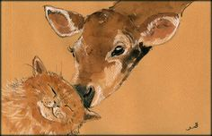 Cow calf and a cat original watercolor painting by Juan Bosco