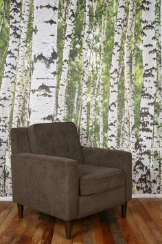 "For some reason, since you said ""fairy tale/fantasy,"" I keep thinking of woodland themes (don't all fairy tales happen in the woods?) -- for which this would be kinda perfect.    UrbanOutfitters.com > Birch Tree Wall Mural"