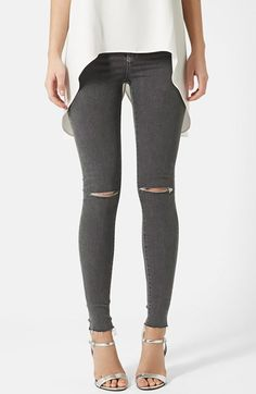 Free shipping and returns on Topshop Moto 'Joni' Ripped Skinny Jeans (Grey) at Nordstrom.com. Shredded knees and frayed hems grunge up the look of high-waisted skinny jeans in a marbled grey wash.