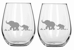 Sand Etched Elephant Glass Set of 2 Choose from Wine, Stemless Wine, Pub, Pilsner, Beer Mug, Coffee Mug, Rocks FREE Personalization by WulfCreekDesigns on Etsy https://www.etsy.com/listing/179234981/sand-etched-elephant-glass-set-of-2
