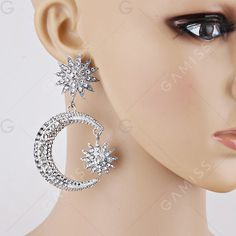 $4.86--Rhinestone Sun Moon Drop Earrings - SILVER