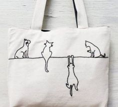Alley cats tote bag shoulder bag minimalist line drawing embroidery bag handmade reusable luggage cat bag reward for her work bag Embroidery Bags, Embroidery Patterns, Folk Embroidery, Modern Embroidery, Sacs Tote Bags, Diy Sac, Cat Bag, Alley Cat, Fabric Bags