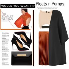 Pleats n Pumps by emcf3548 on Polyvore featuring Topshop, Valentino, Christian Louboutin and Balenciaga